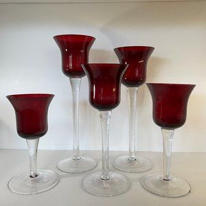 Candle Votives Red Holiday 5 Five Goblet Style